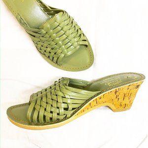 Vintage Dr. Scholl's wovern cork wedge sandals